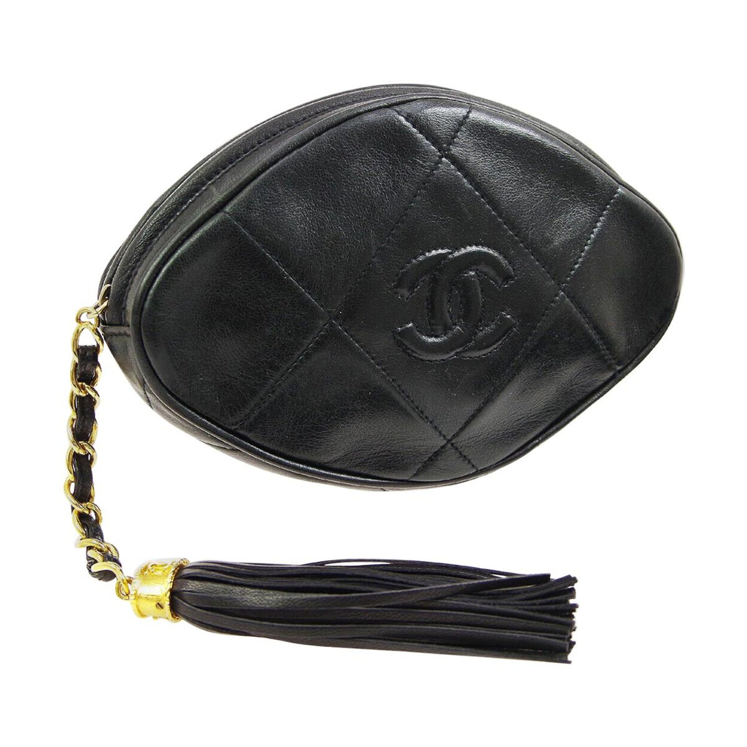 cc431b72ac55aa Chanel Black Leather Tassel Small Mini Evening Clutch Bag For Sale at  1stdibs