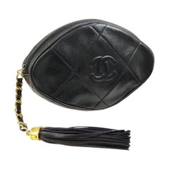 Chanel Black Leather Tassel Small Mini Evening Clutch Bag