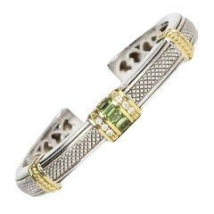 Judith Ripka 18K/Sterling Silver Hinged Bracelet W/ Diamond and Peridot
