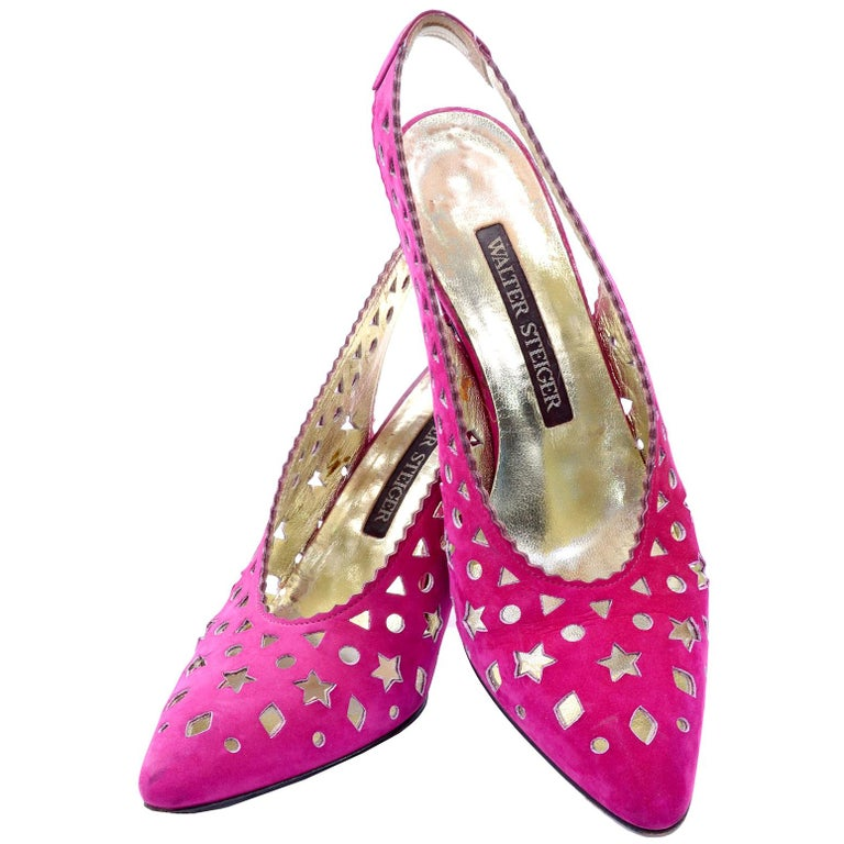 1980s Walter Steiger Slingback Pink Suede Shoes W/ Cut Out Stars & Shapes 7AA For Sale