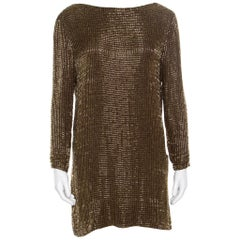 Tom Ford Brown Embellished Silk Draped Open Back Long Sleeve Dress S