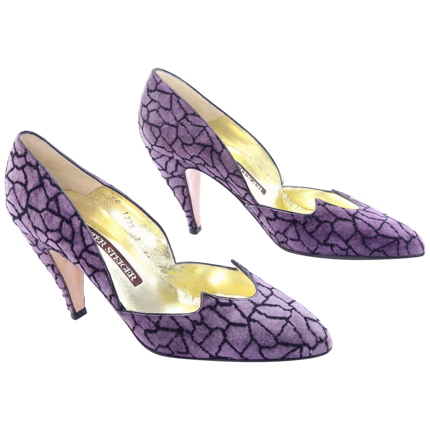 """Unworn Walter Steiger Vintage Shoes in Purple & Black Suede With 3.5"""" Heels 7AA"""