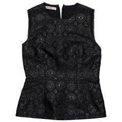 Black Prada Floral Brocade Blouse