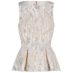 Elie Saab White Embroidered Sleeveless Top M