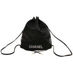 Chanel Black Satin Mini Drawstring Back Pack Bag