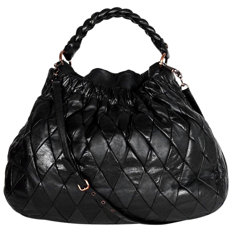 73b09a59ee94c9 Miu Miu Black Leather Harlequin Patchwork Hobo Bag W/ Strap For Sale at  1stdibs