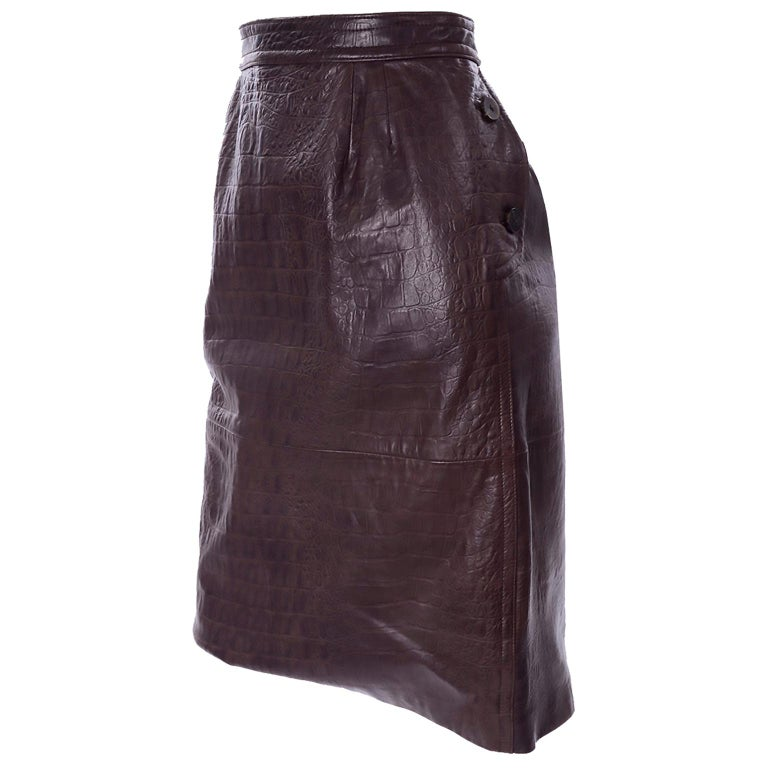 Deadstock Vintage New Valentino Alligator Print Embossed Leather Pencil Skirt  For Sale