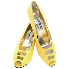 Unworn Yellow Escada Vintage Shoes With Peep Toe Cutwork and heels in Size 7.5