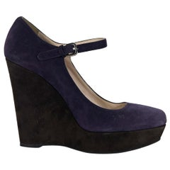 Purple & Brown Prada Suede Mary Jane Wedges