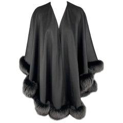 ADRIENNE LANDAU Size One Size Black Cashmere / Viscose Cape