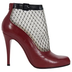 Red Christian Louboutin Leather Fishnet Ankle Boots