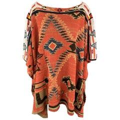 RALPH LAUREN Size One Size Brick Linen / Silk Poncho