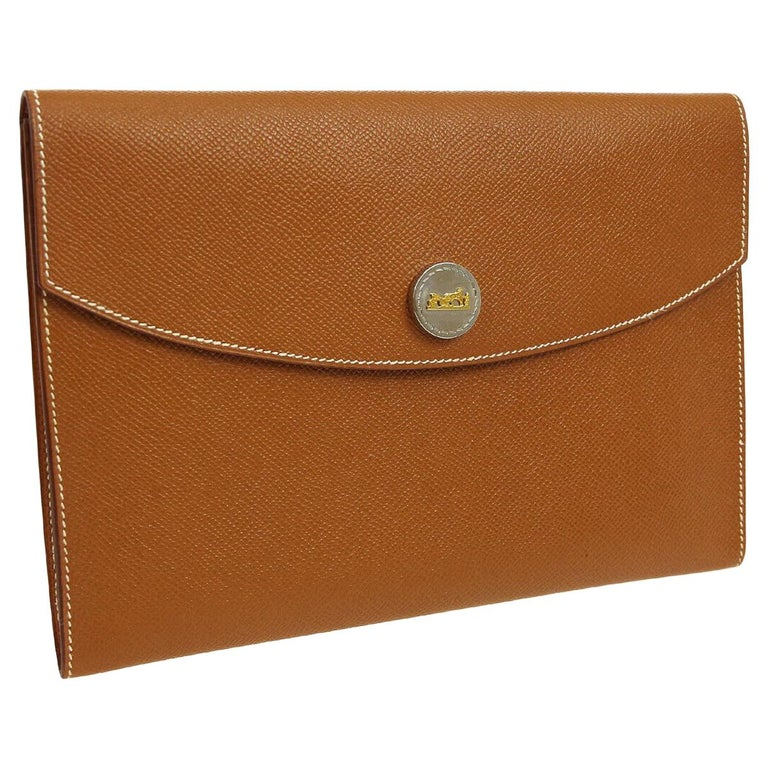 32802168b497 Hermes Cognac Leather Gold Hardware Envelope Men s Evening Clutch Bag in Box  For Sale