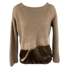 BRUNELLO CUCINELLI Size M Taupe Cashmere / Silk Pullover Sweater