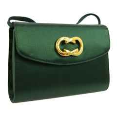 Gucci Green Satin Gold Chain 2 in 1 Clutch Evening Shoulder Flap Bag