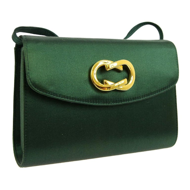 2b709761e75942 Gucci Green Satin Gold Chain 2 in 1 Clutch Evening Shoulder Flap Bag For  Sale