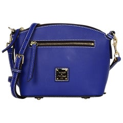 Dooney & Bourke French Blue Leather Domed Crossbody Bag