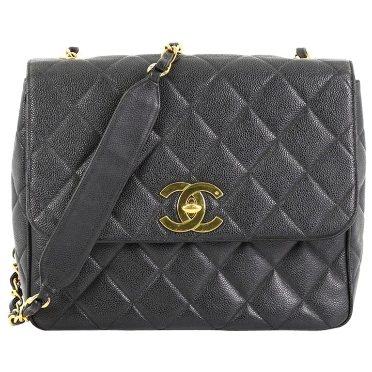 8a59696ebe Chanel Vintage Square CC Flap Bag Quilted Caviar Medium For Sale at ...