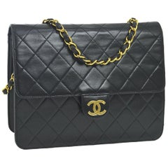Chanel Classic Black Leather Lambskin Gold Chain Evening Shoulder Flap Bag