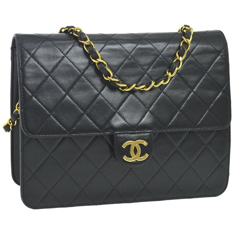 e529b4ce21a4 Chanel Classic Black Leather Lambskin Gold Chain Evening Shoulder Flap Bag  For Sale