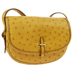151b0dc6d955 Hermes Rare Mustard Ostrich Leather Gold Small Mini Shoulder Flap Bag