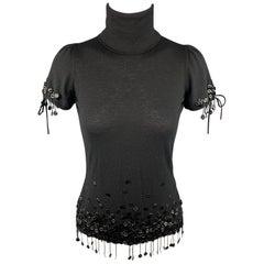 CHANEL Size M Black Cashmere / Viscose Camelia Fringe Dress Top