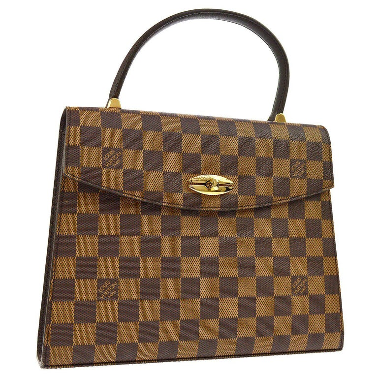 Louis Vuitton Vintage Kelly Style Gold Evening Top Handle Satchel Bag For Sale