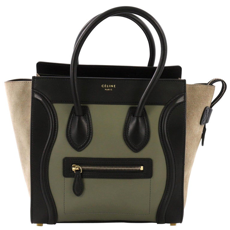 Celine Tricolor Luggage Handbag Leather Micro For