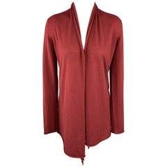 DONNA KARAN Size S Burgundy Cashmere Asymmetrical Cardigan Sweater