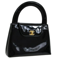 Chanel Black Patent Leather Kelly Style Top Handle Satchel Flap in Box
