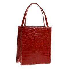 Hermes Rare Red Crocodile Leather Small Mini Evening Top Handle Satchel Tote Bag