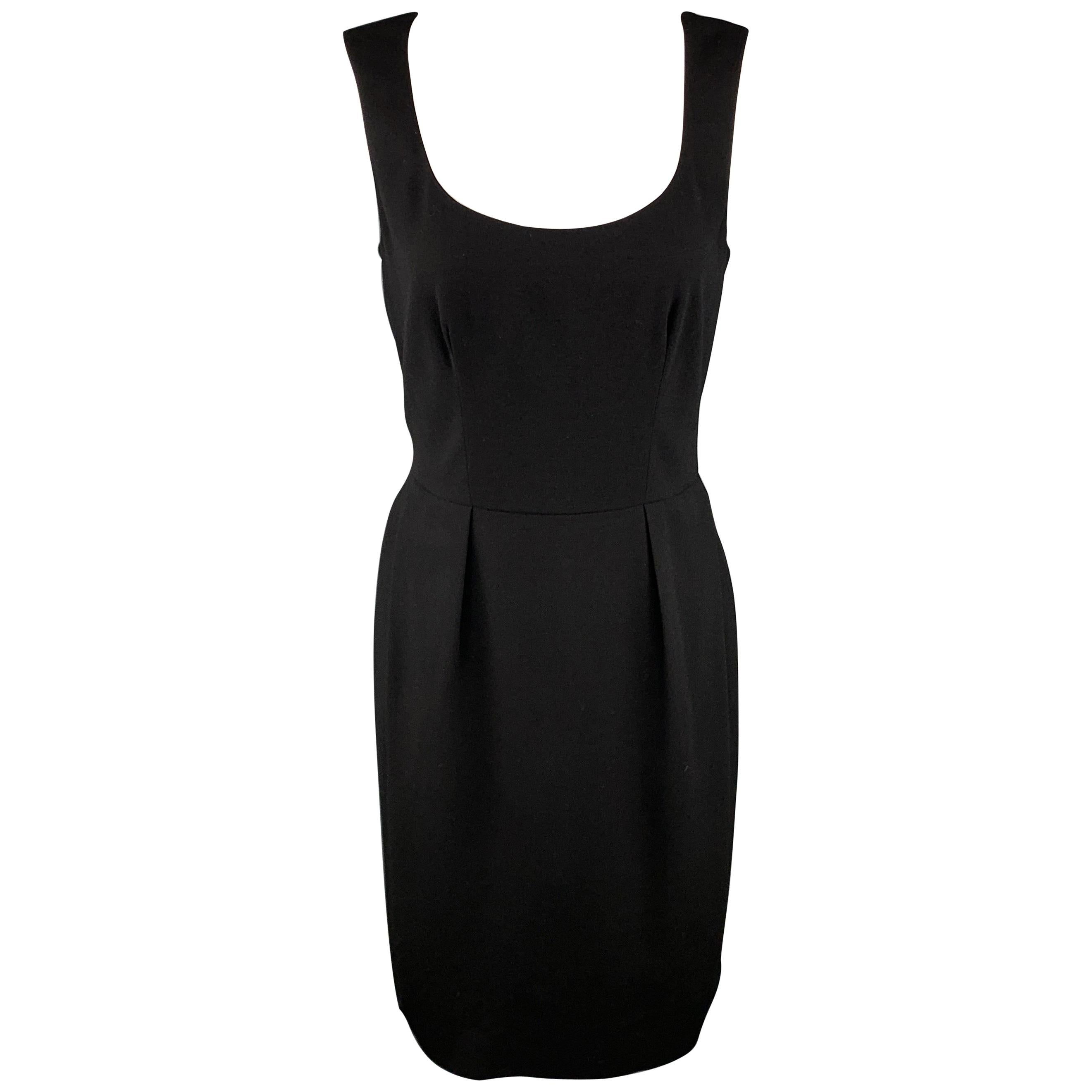 YVES SAINT LAURENT Size 6 Black Wool / Elastane Shift Dress