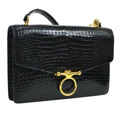 Hermes Rare Black Crocodile Leather Gold Evening Shoulder Flap Bag in Box
