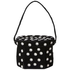 Renaud Pellegrino Velvet Handbag with Rhinestone Embellishment