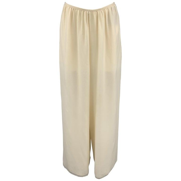 OSCAR DE LA RENTA Size 8 Cream Silk Dress Pants