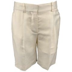 CHLOE Size 2 Cream Silk Pleated Shorts