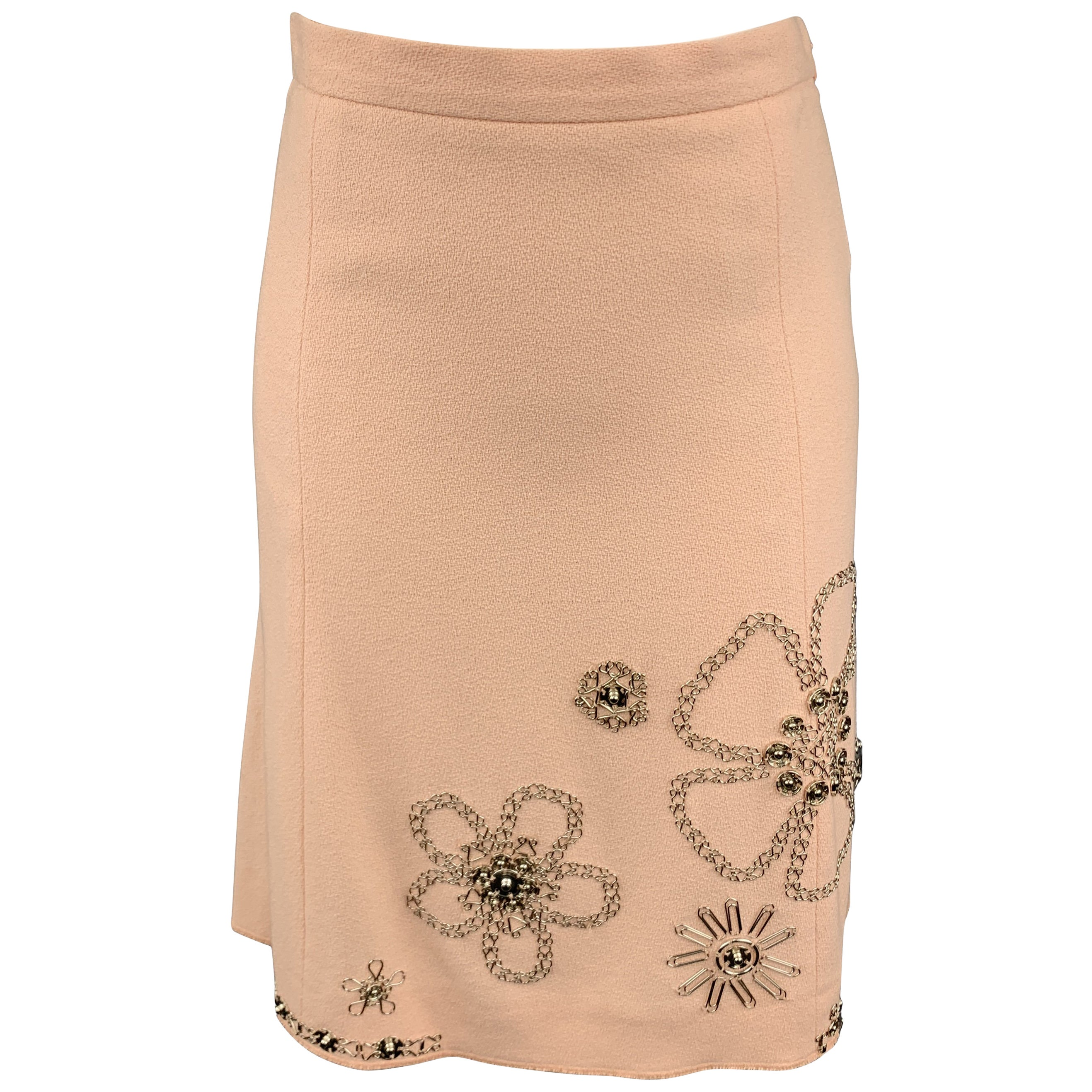 MOSCHINO Size 6 Rose Cotton Floral Embellished Skirt