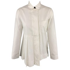 MARNI Size 2 White Cotton Pleated Asymmetrical Blouse