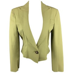 JOHN GALLIANO Size 8 Green Viscose Blend Cropped Jacket