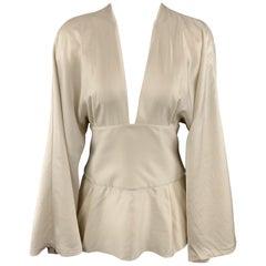 STELLA McCARTNEY Size 6 Grey Silk Blouse