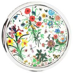 Gucci Round Serving Tray Accornero Flora Motif Barware Platter Vintage 70s Rare