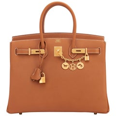 Hermes Birkin 35cm Gold Epsom Camel Tan Gold Hardware Rare Leather