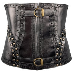 JEAN PAUL GAULTIER Black Leather Perforated Lace Up Whip Stitch Corset Belt