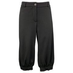 CHANEL Size 10 Black Modal Blend Wide Leg Ruched Capri Pants