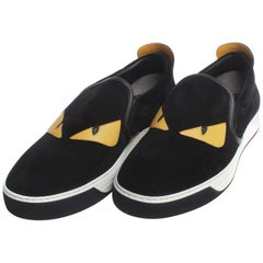 Fendi Slip-on sneaker in black split-leather calfskin.