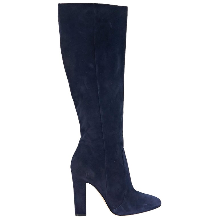 4990ed2b9cd Blue Gianvito Rossi Suede Tall Boots For Sale at 1stdibs