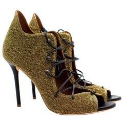 Malone Souliers Savannah gold lurex lace-up sandals 40.5