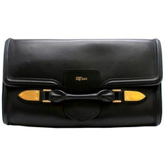 Alexander McQueen Black Leather Large Clutch
