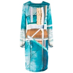 Hussein Chalayan Blue Beach Print Dress US 6