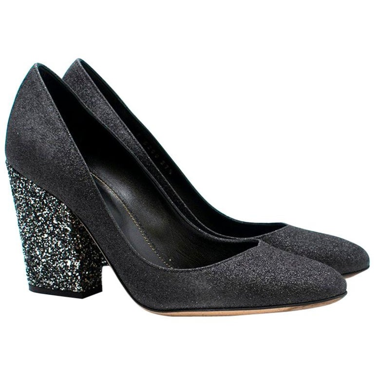 6252c76110 Sergio Rossi Black and Silver Glitter Block Heel Pumps 37.5 For Sale ...